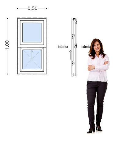 30%off-ventana Pvc 50 X 100 Doble Vidrio Guillotina Incluye