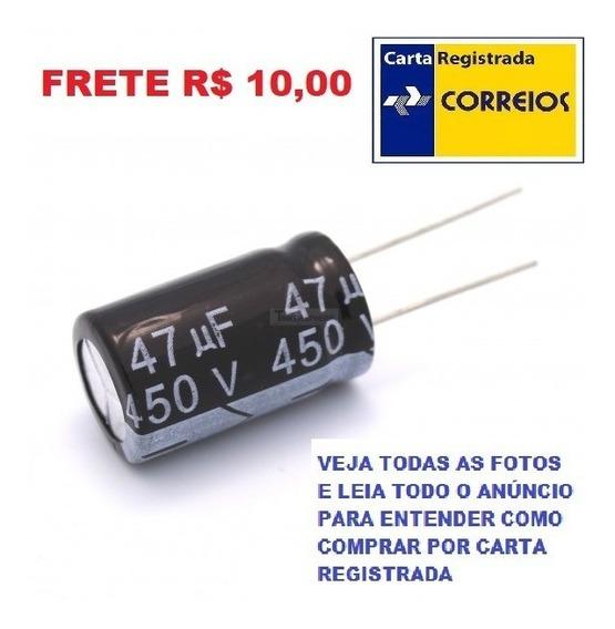 Kit 10 Capacitor Eletrolítico 450 V 4.7 Uf Alum Frete R$ 10