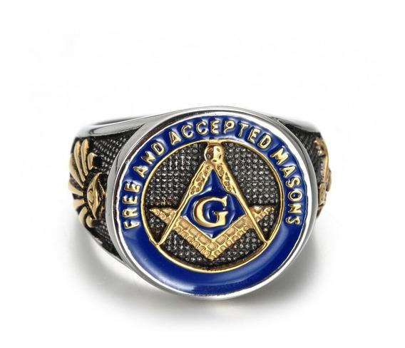 Anillo Masonico Azul Con Detalles En Oro (oficial)