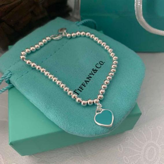 Pulseira Tiffany Mini Coração Em Prata 925 .