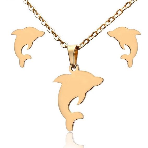 Collar Aretes Delfín Acero Inoxidable Oro Platinado Dije
