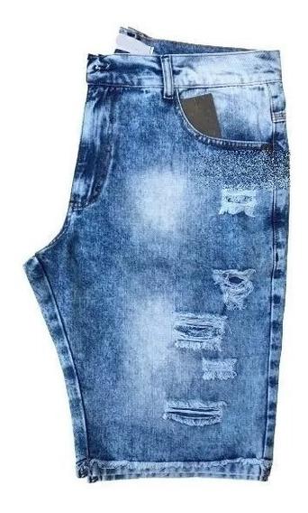 Bermuda Shorts Jeans Preta Rasgada Desfiada Destroyed