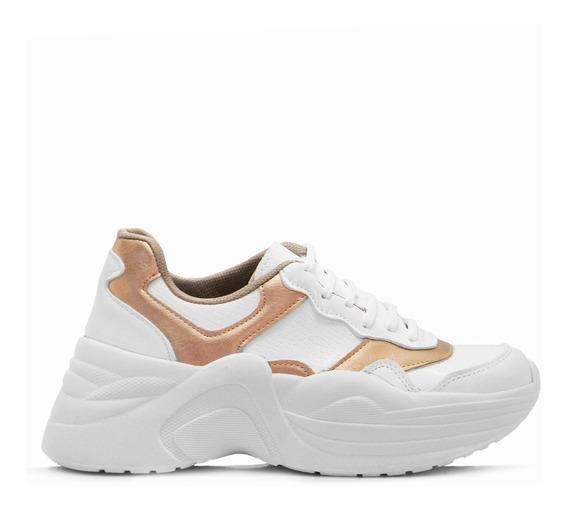 Zapatilla Sneakers Urbana Plataforma Moda Mujer Blancas