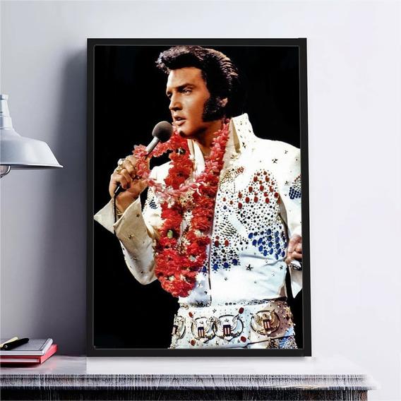 Poster Quadro C/ Vidro Grande Rock Elvis Presley Decorativo