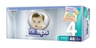 Pañal Para Bebé Bb Tips Talla 4 Grande Paq Con 40 Und.