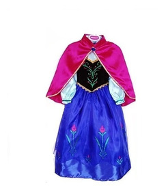 Vestido Fantasia Infantil Frozen Princesa Anna Luxo + Capa