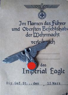 Insignia Para Quepe - Águia Segunda Guerra - Exército Alemão