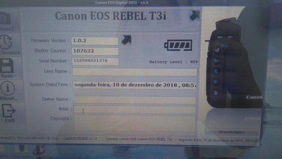 Camera Canon Eos Rebel T3i Com107632 Cliques (usada)