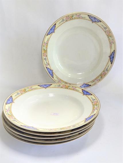 Antigo Conjunto 6 Pratos Fundos Em Porcelana Kpm 1050 Rrdeco