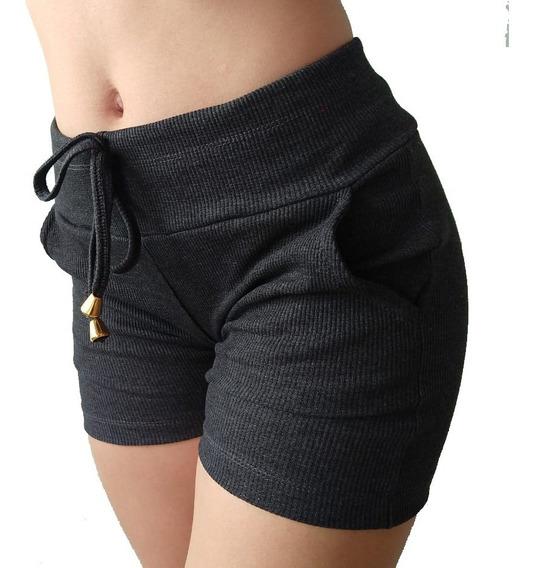 Kit 10 Short Feminino Malha Canelada Bermudinha Bolso