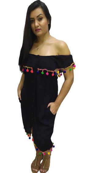 Vestido Ciganinha Saída De Praia Com Bolso Pom Pom -cod. 416