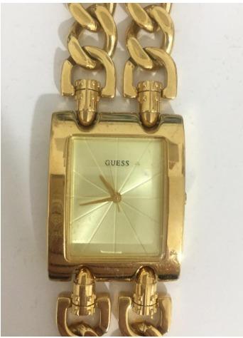Relógio Guess 190176l Dourado Original Seminovo Funcionando