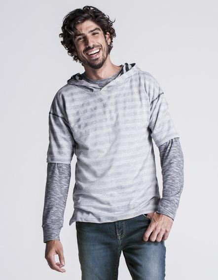 Camiseta Masculina Com Capuz Mescla Listras