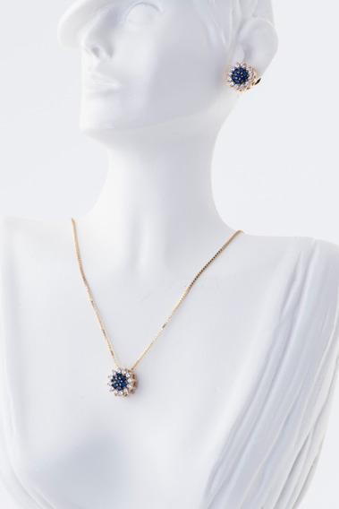 Conjunto Colar Brinco Zirconia Azul Safira Prata Banho Ouro