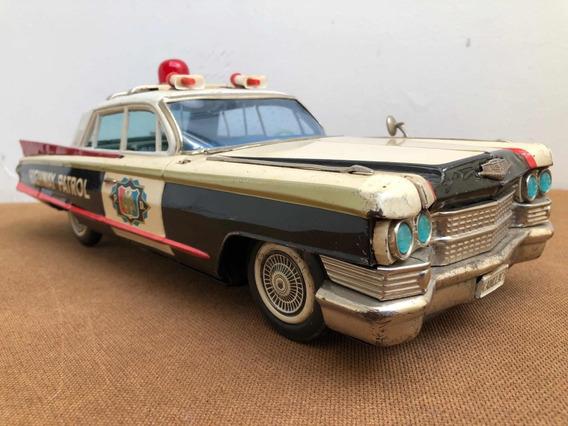 Cadillac Polícia De Lata Antigo E Raro Brinquedo Decorativo