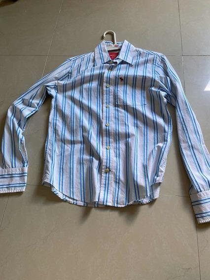 Camisa Abercrombie Blanco Con Azul
