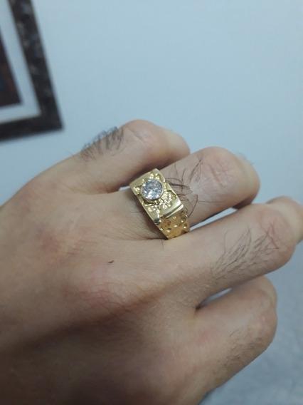 Anel Masculino Em Ouro 18 K 750 Com Diamante
