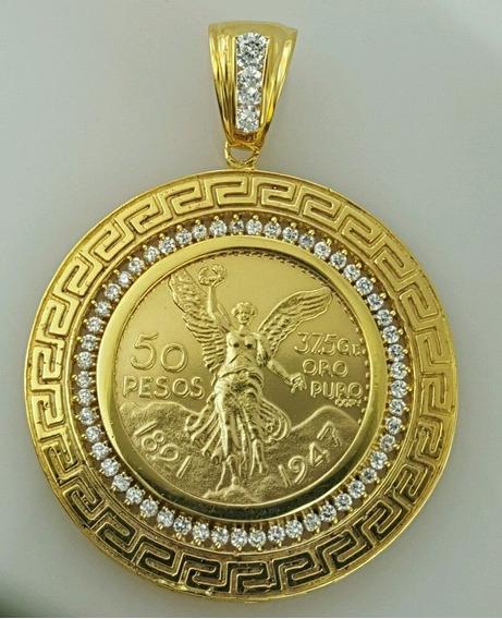 Centenario Con Su Pendiente Versace Laminado En Oro De 14k