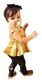 Conjunto Infantil Menina Bebê Estilosa Peplum Cirre Promoção
