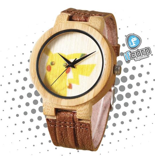 Reloj Pikachu Pokemon Bamboo Madera Watch Leather Hombre