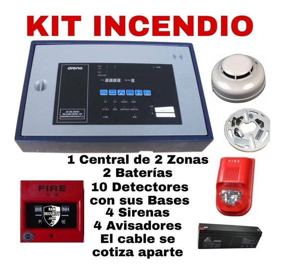 Kit Incendio Conv 1 Central Detectorx10 Sirenax4 Pulsax4 Bat