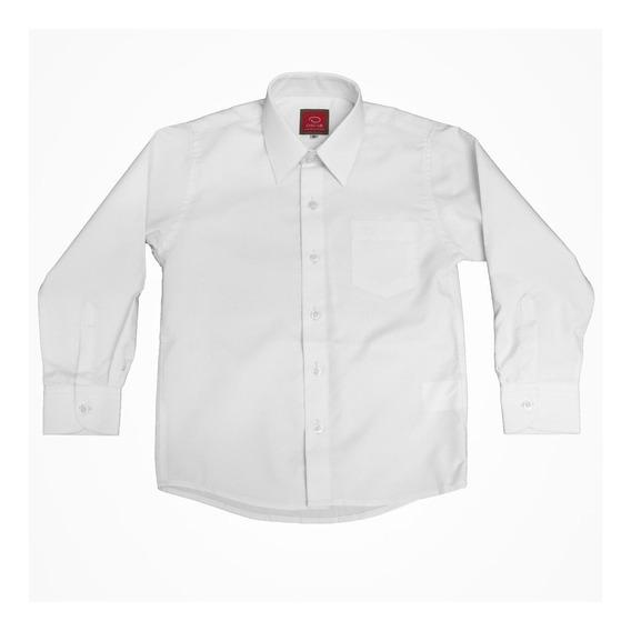 Camisa Lisa Manga Larga De Vestir Para Niño Oscar Blanca
