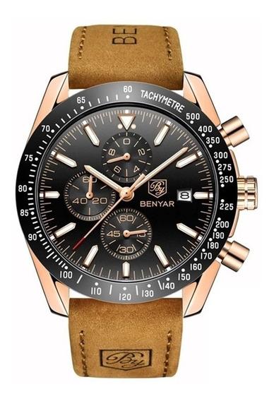 Relógio Masculino Benyar Pulseira De Silicone / Couro