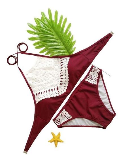 Traje De Baño Rojo Crop Top Bordado Push Up Bikini Mexico