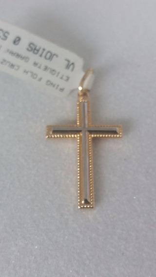 Pingente Crucifixo 2 Cores Folheado A Ouro