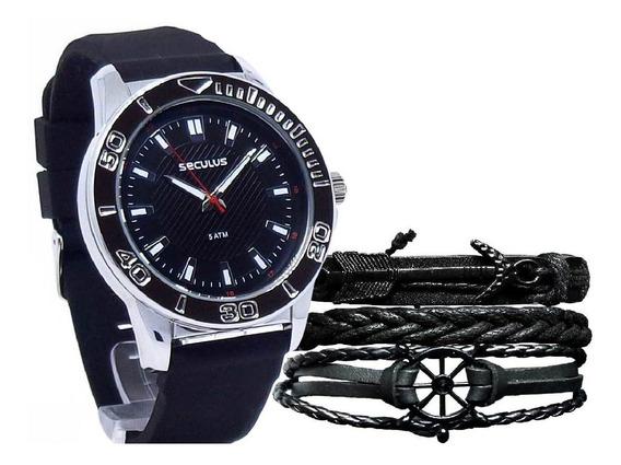 Relógio Seculus Masculino Analógico 23611g0svni1 + Pulseira