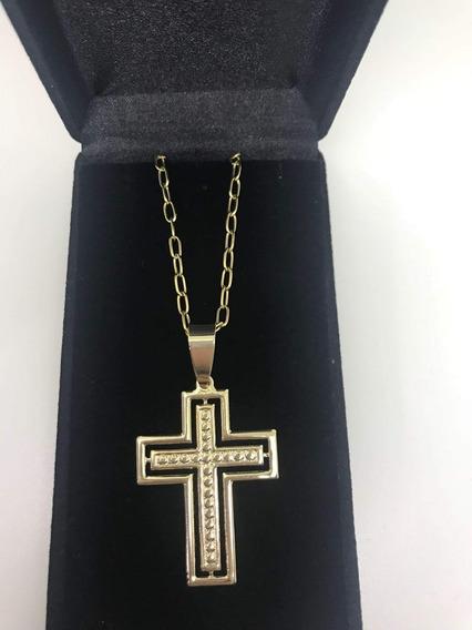 Corrente Masculina Com Crucifixo Larg Banhado A Ouro 18k