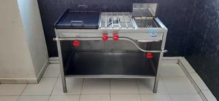 Estufa Multifuncional Con Quemador, Plancha Y Freidora