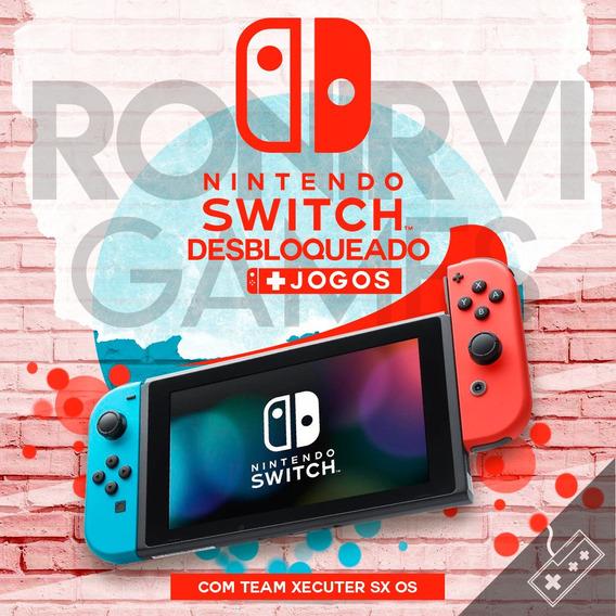 Nintendo Switch Desbloqueado Team Xecuter Sx Os 128gb +jogos