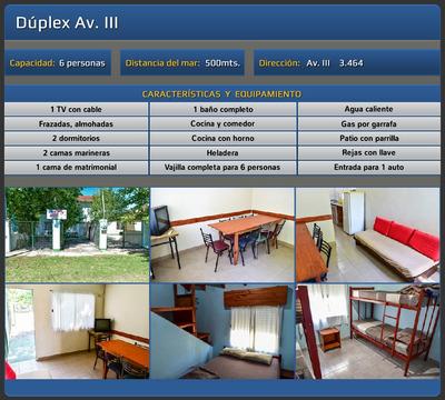 Alojamiento Alquiler Duplex Y Dptos 6 Personas San Clemente