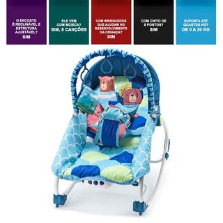 Cadeira Cadeirinha De Balanço Musical Vibratória 20 Kg Azul