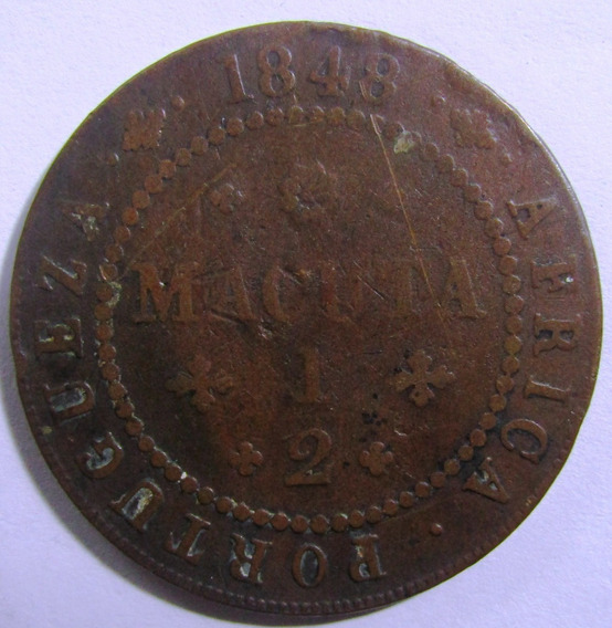 Angola 1/2 Macuta Año 1848 Cobre Km# 56 Vf Muy Bien