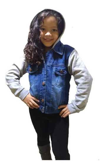 Jaqueta Jeans Infantil C/moletom Capuz Roupas Feminina