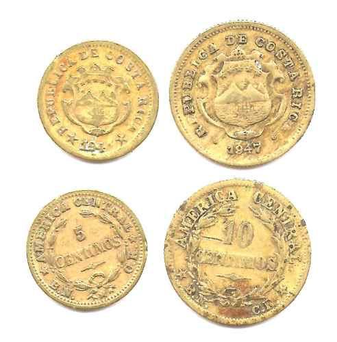 2 Monedas Costa Rica 5 Y 10 Centavos Año 1947 Muy Buenas-
