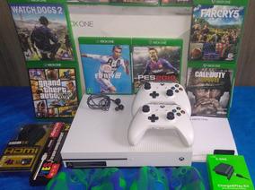 Xbox One S 1tb Branco 2 Controles + Jogos + Brindes Barato