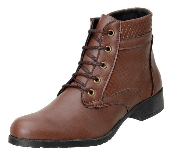Bota Feminina Ankle Boot Cano Curto Coturno Cadarço - 040