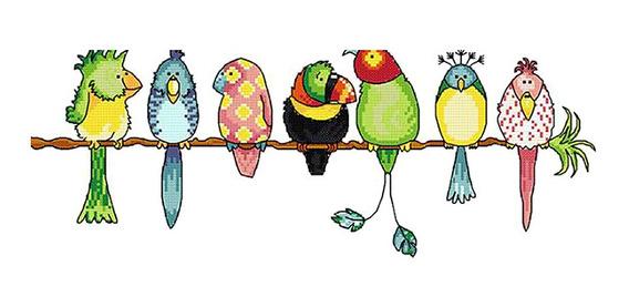 Papagaios Colorido Carimbado Estojo Ponto Cruz Diy Feito À