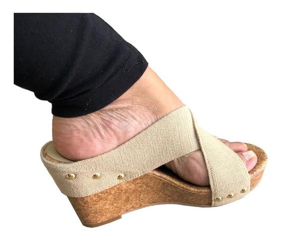 Sandalia Mujer Beige Altos Talla 7.5 Zapato Americano
