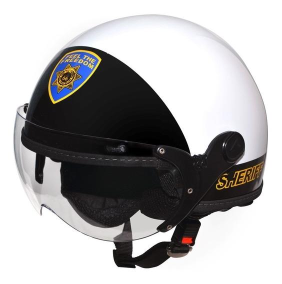 Capacete Aberto Kraft Plus Sheriff Custom Selo Inmetro