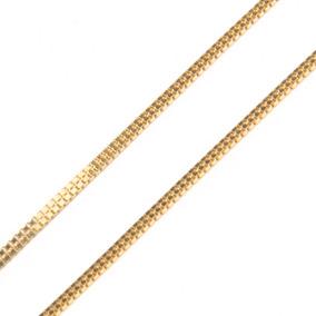 Corrente Em Ouro 18k Veneziana Dupla 45cm