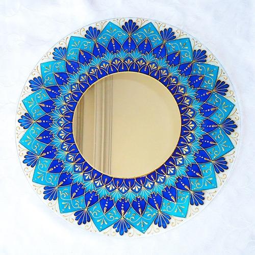 Mandala Azul E Dourada Em Vidro De 50cm E Espelho De 24cm