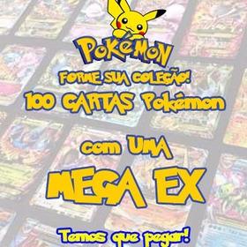 Lote Pokémon Com 100 Cartas + 1 Carta Mega Ex + 10 Raras
