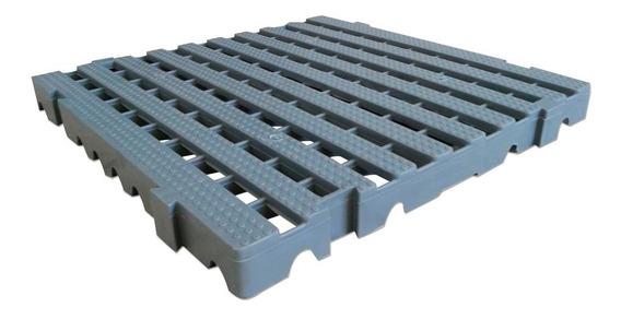 Kit 2,0 M² Deck Plástico 4,5x40x40 - 11 Pçs Estrado Cinza