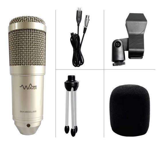 Microfone Condensador Bm-800 Waver + Tripé + Cabo Usb Silver