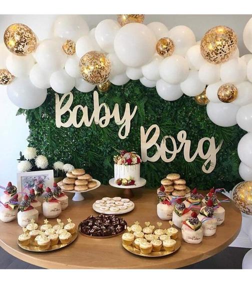 90 Globos Blancos De Confeti Dorados Deco.bodas, Baby Shower