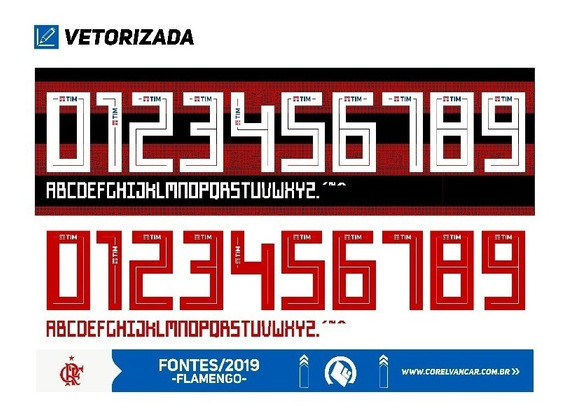 Fonte Flamengo 2019 adidas - Em Corel - Para Sublimação